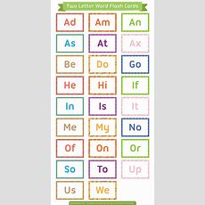Printable Two Letter Words Flash Cards