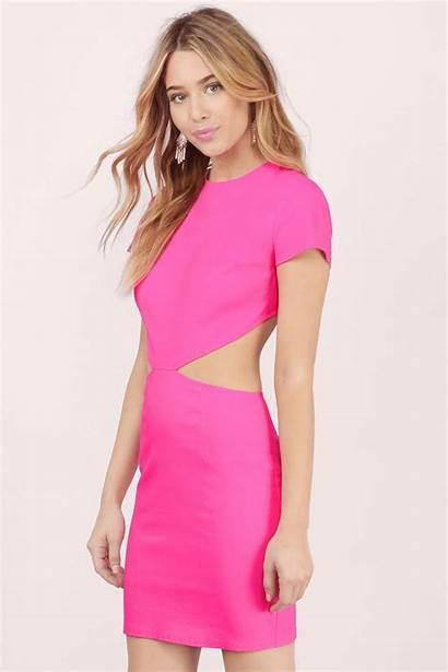 Bodycon Kiss Cut Neon Pink Dresses Tobi