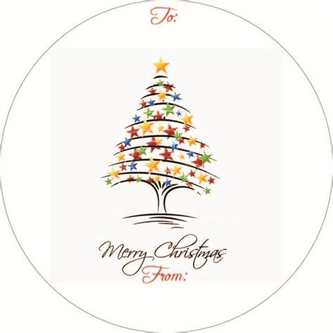 gift sticker christmas tree drawing