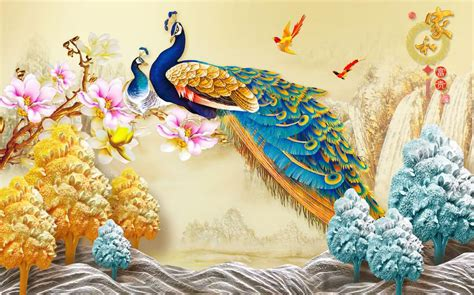 chinese  wall sticker wall painting peacock themed