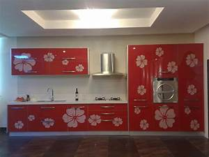 27 totally awesome red kitchen designs page 4 of 5 for Kitchen colors with white cabinets with laser printer stickers
