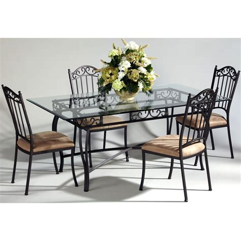 Table Sets Wrought Iron by To It Chintaly Bethel 5 Rectangular