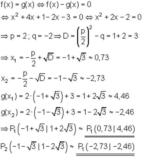 schnittpunkt von parabel und gerade mathe brinkmann