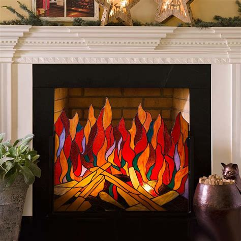 stained glass fireplace screen stained glass roaring screen so that s cool
