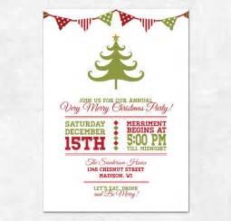 items similar to printable christmas invitation holiday bunting and christmas tree on etsy