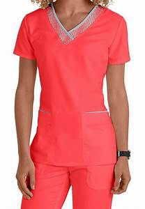 Greys Anatomy v-neck grid trim scrub top. Main Image ...