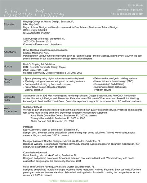 interior design resume sle 28 images part time