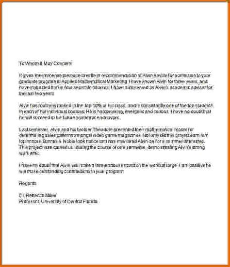 recommendation letter  graduate school template business
