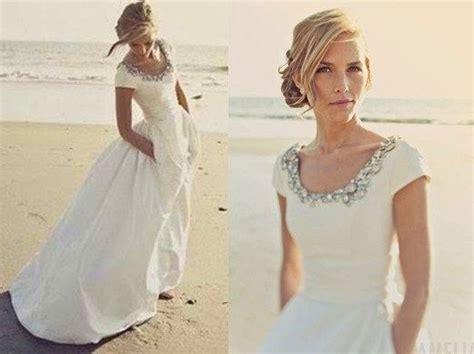 Taffeta Wedding Dress Bridal Gown Scoop Neck Cap Sleeves