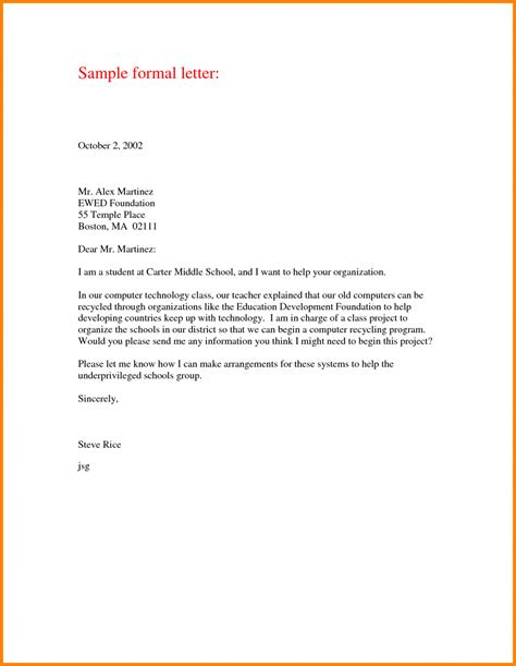 printable formal letter format sample template