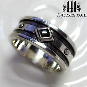silver wedding ring black onyx mens engagement band With black onyx mens wedding ring