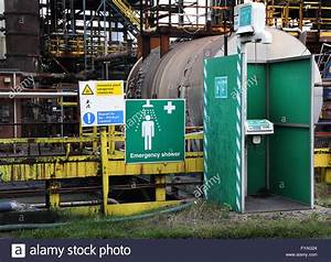 Industrial Safety Shower Unit On Chemical Plant Stock