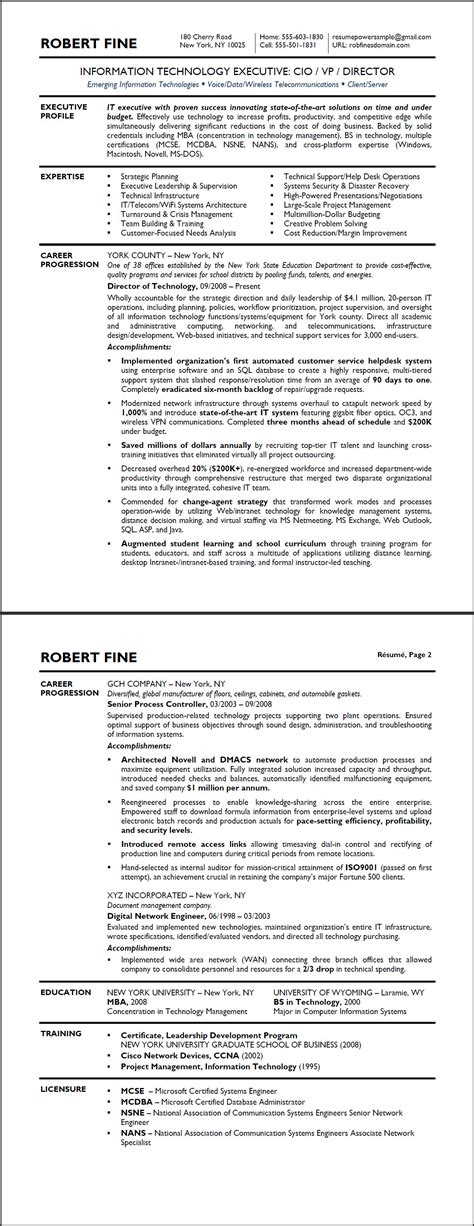 Technology Executive Resume Template by Technology Executive Sle Resume Resumepower