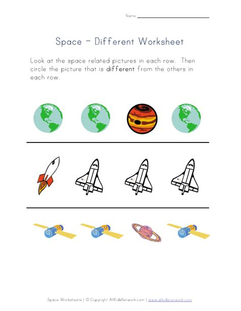 things that are different worksheet space theme