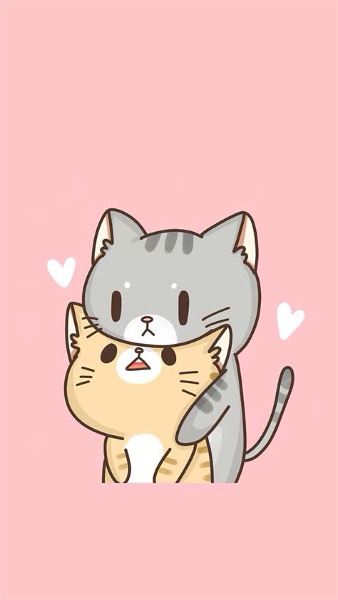 drawn wallpaper cute anime cat pencil   color drawn