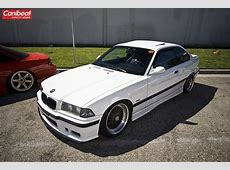 Alpine white BMW e36 coupe on 8x17 square set of OEM BMW