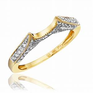 1 carat diamond trio wedding ring set 14k yellow gold my With gold wedding rings with diamonds