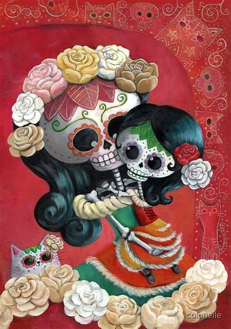 mexican skeletons mother  daughter  colonelle redbubble