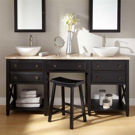 Bathroom Vanity With Built In Makeup Area by 25 Double Sink Bathroom Vanities Design Ideas With Images