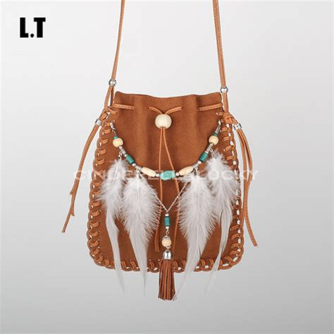 brown leather crossbody purse 2017 leather small bag handmade brown beaded feathers