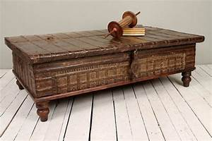 reclaimed salvaged antique indian rust iron and bronze With trunk coffee table india
