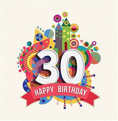 Number Birthday Happy Vector Card Greeting Thirty