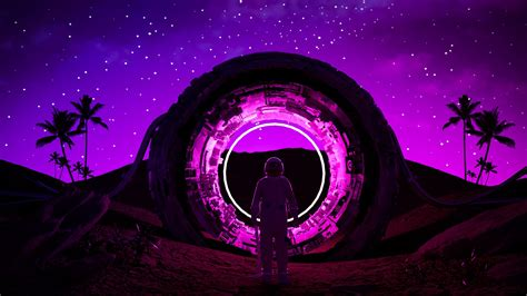 wallpaper  astronaut ring neon glow