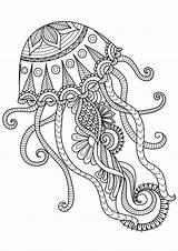 Mandala Coloring Animal Pages Jellyfish sketch template