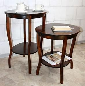 Beistelltisch Holz Massiv : massivholz tisch beistelltisch teetisch oval 57 holz massiv kolonial ~ Indierocktalk.com Haus und Dekorationen