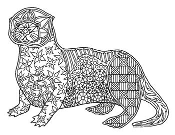 sea otter zentangle coloring page  pamela kennedy tpt