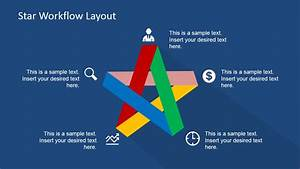 Five Steps Flat Star Diagram For Powerpoint