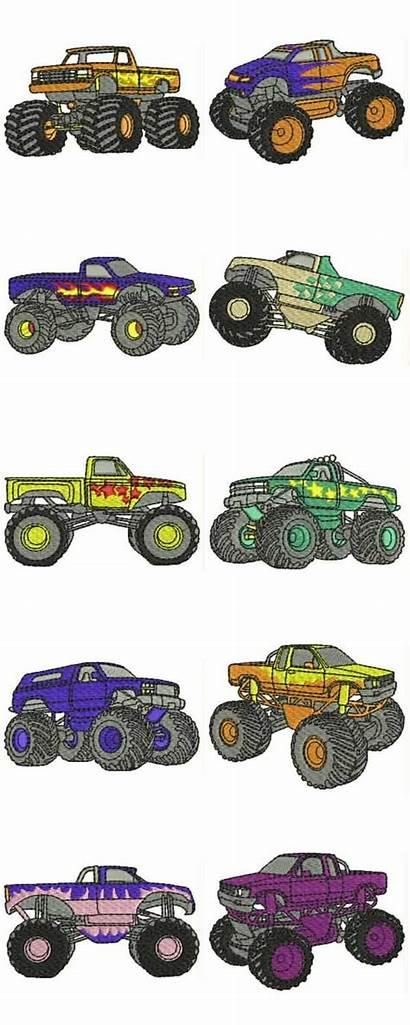 Monster Border Embroidery Clipart Truck Trucks Clip