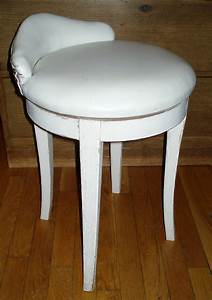 Vintage, Mcm, Vanity, Chair, Swivel, Stool, White, Faux, Leather