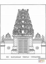 Coloring Temple Singapore Sri Pages Mariamman Drawing Paper Printable sketch template