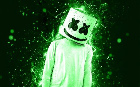 4k Resolution Neon Marshmello Wallpaper 3d by Wallpapers Dj Marshmello Green Neon 4k