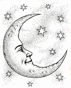 Crescent Moon Face & Stars Coloring Page … | Pinteres…