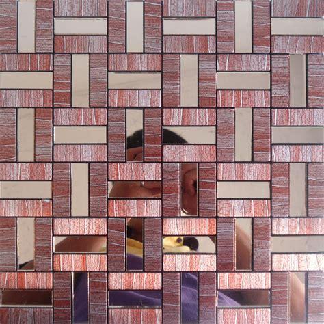 peel  stick tile red aluminum metal wall tile adhsive