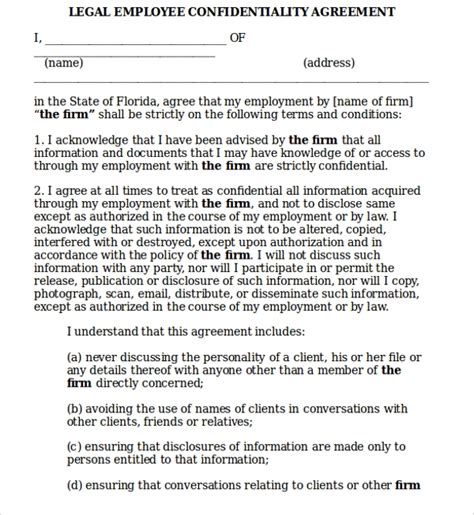 sample legal confidentiality agreement template