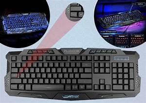 Usb Wired Gaming Keyboard Qwerty 3 Color Illuminated Led