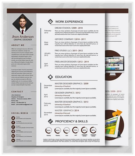 Free Graphic Design Resume Template Word by Best Professional Resume Templates Psd Ai Word Free Psd Files Graphic Web Design