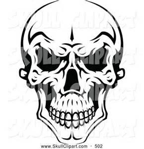 Evil Skull Clip Art Black and White