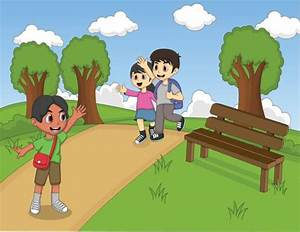 Kids Playing Games In The Park Clip Art, Vector Images ...