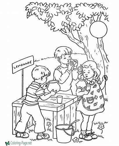 Coloring Summer Pages Stand Lemonade Sheets Bible