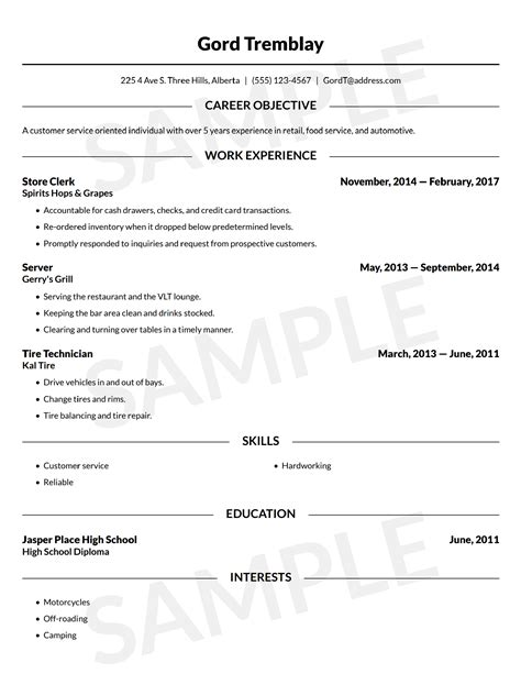 resume builder free resume template canada