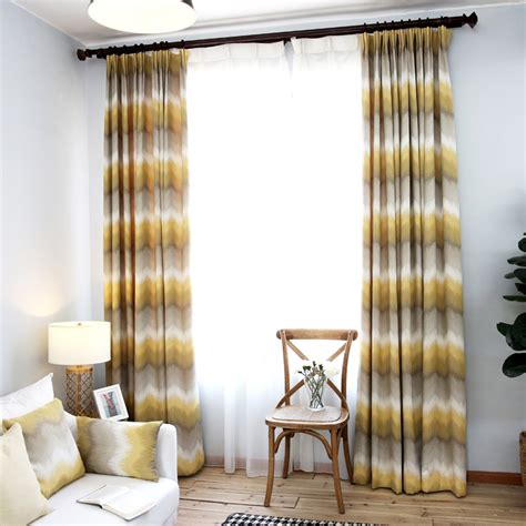 curtain rod for bay window yellow and grey ombre chevron jacquard poly cotton blend