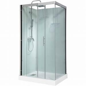 cabine de douche rectangulaire 110x80 cm thalaglass 2 With porte d entrée alu avec colonne pivotante de salle de bain