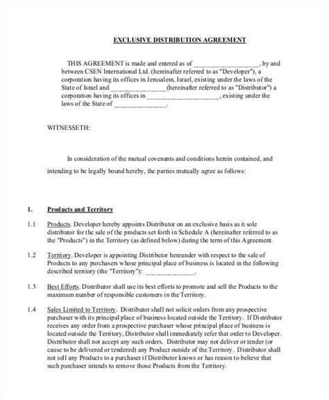 distribution agreement form samples  sample