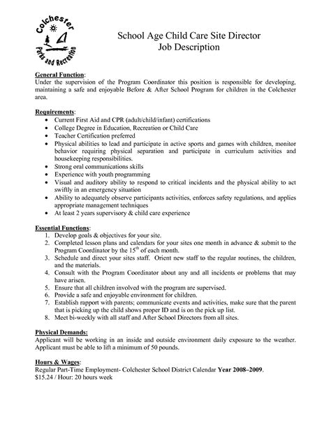 resume for a daycare director