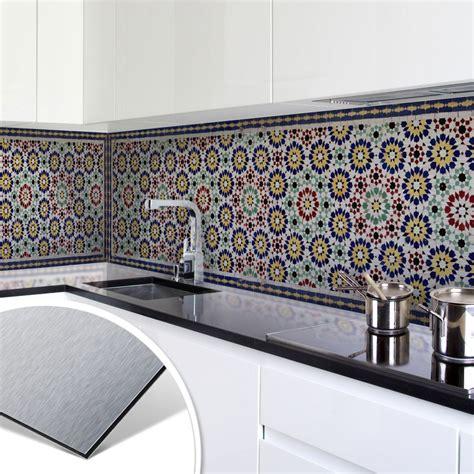 Fliesenspiegel Küche Orientalisch by K 252 Chenr 252 Ckwand Alu Dibond Silber Orientalische Kacheln