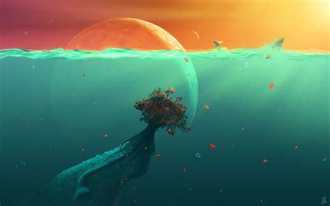 Hd Anime Landscape Wallpaper Deep Ocean Planet Fish Wallpapers Wallpapers Hd